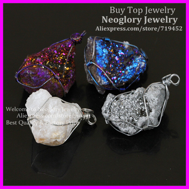 4pcs amazing titanium multicolor crystal stone druzy quartz pendant 4pcs amazing titanium multicolor crystal stone druzy quartz pendantelectroplated wire wrapped titanium druzy pendant aloadofball Images