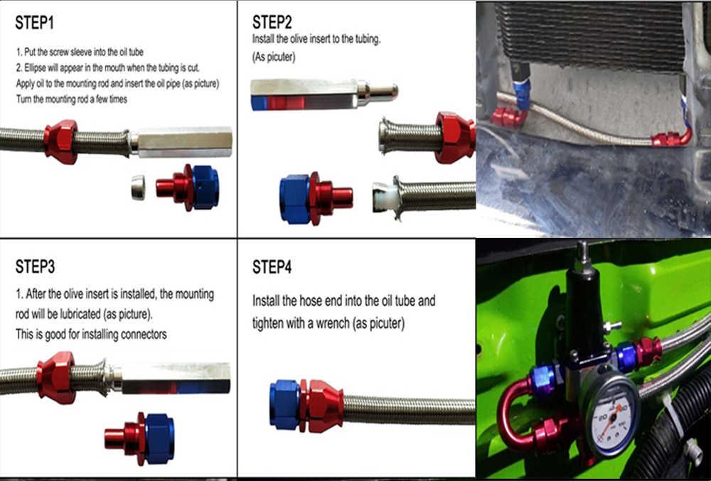 AN4 AN6 AN8 AN10 AN12 Dikepang Stainless Steel Bahan Bakar Selang Minyak Bensin Garis Rem Selang untuk Mobil Balap Selang Teflon 0.3 Meter