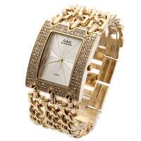 G & D Top Marka Luksusowe Kobiety Złoty Zegarek Kwarcowy Relogio Feminino Sukienka Saat Zegarek Na Rękę Relojes Mujer Lady Zegar prezenty Galaretki