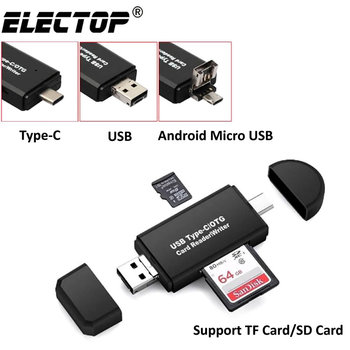 Electop Type C Micro USB USB 3 In 1 OTG Card Reader High-speed USB2.0 Universal OTG TF/SD for Android Computer Extension Headers