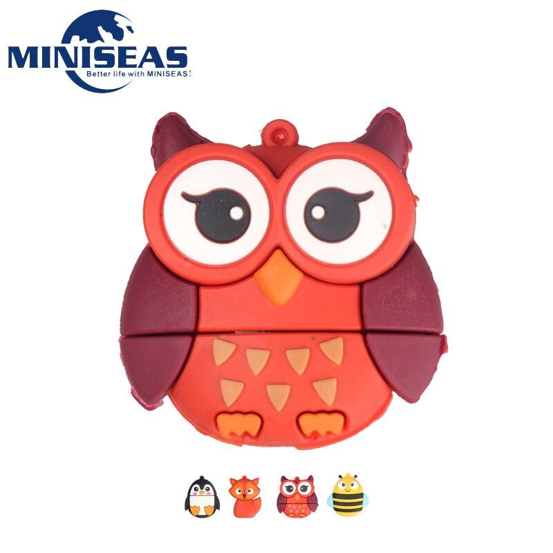 2016 Miniseas Usb Flash Drive Vraie Capacité Pingouin Fax Hibou Abeille Forme 8G/16G/32G /64G Mémoire USB Stylo Bâton Lecteur Clé USB Pour PC