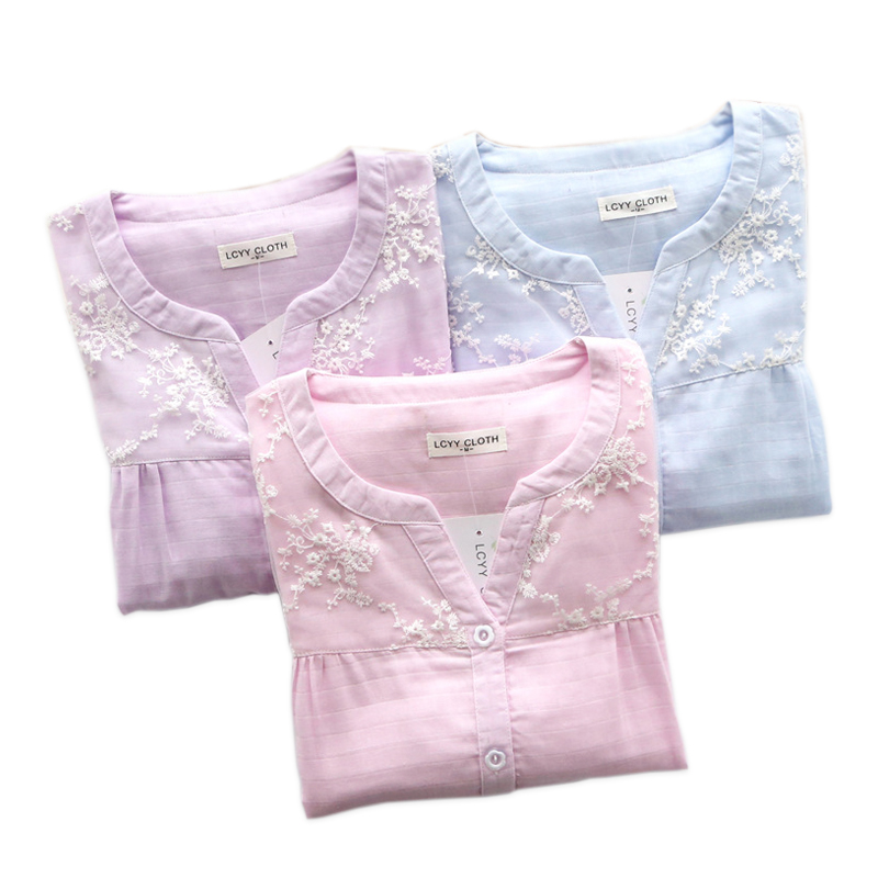 New Summer sweet   pajama     sets   women quality 100% gauze cotton sexy lace fresh pink sleepwear womens pyjamas pijamas mujer