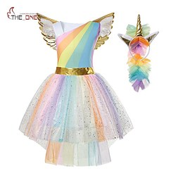 MUABABY Girl Unicorn Dress Up Kids Flying Sleeve Rainbow Party Dancing Tutu Dress Girls Christmas Pageant Tulle Cosplay Costume