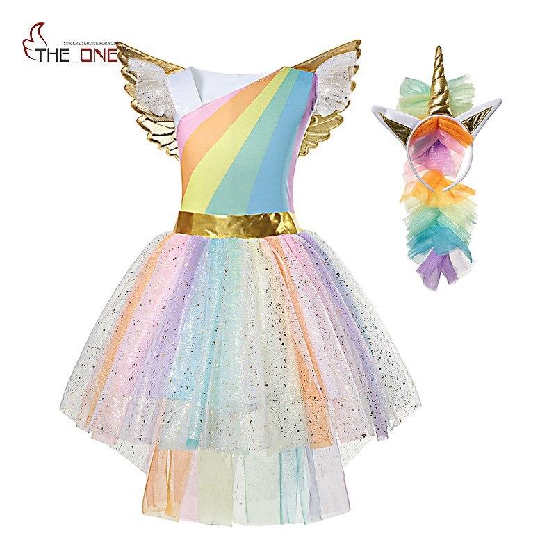 MUABABY Mädchen Einhorn Kleid Up Kinder Sommer Regenbogen Pailletten Party Tutu Kleid Mädchen Pageant Tüll Cosplay Kostüm mit Flügel Stirnband