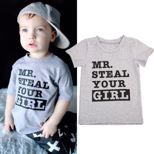 826e31946908 Cute Kids Boys Mr Steal Your Girl Crew Neck T shirt Letter Print Casual Tee  Tops