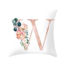 HSU cojines decorativos para sofá letra almohada alfabeto cojín estampado para sofá decoración del hogar almohada de flores cojín decorativo
