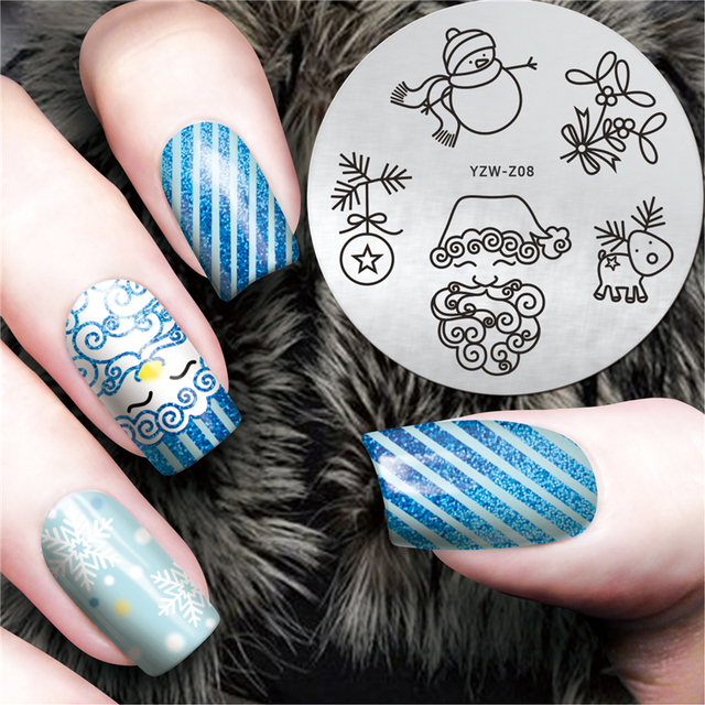 YZWLE 1Pc Christmas XMAS Elderly Snowman Deer Nail Art Stamp ...
