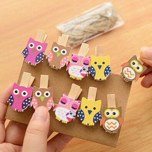 Kawaii Owl Wooden Clip Photo Paper Craft DIY Clips With Hemp Rope FOD Craft Pegs Cloth Photo Hanging Spring Clips Pinch