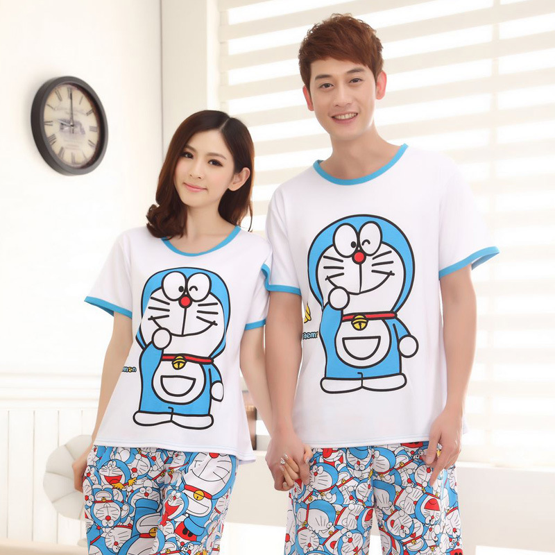 Sale 2015 New Summer Cotton Pijama Women & Men Korean Casual Doraemon Pajamas Set Couple Cute Cartoon Sleepwear Pyjamas - Lovely Lolita store