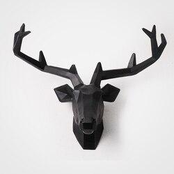 2019 kreative Europäischen Stil Deer Kopf Wand Hängen Statue Tier Figurine Skulptur Für Home Dekorationen Dachboden Ornamente Bar