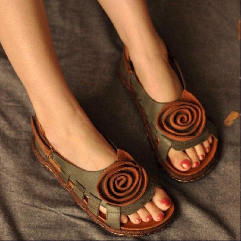 Artdiya Vintage Handmade หนังรองเท้าแตะแห่งชาติแนวโน้มผู้หญิงรองเท้าดอกไม้รองเท้ารองเท้านุ่มสบายๆรองเท้าแตะ-ใน รองเท้าส้นสูงเตี้ย จาก รองเท้า บน   1