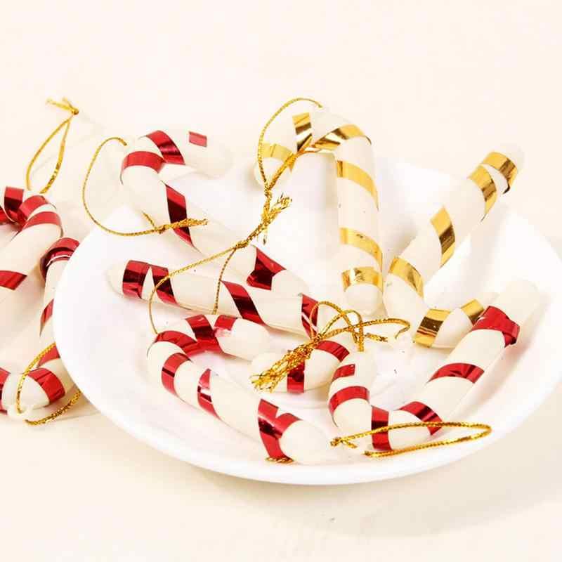 6 יח'\אריזה לשנה חדשה חג המולד המפלגה ילדים מתנת חג המולד תלוי מקל סוכריות חג מולד עץ קישוטי קב תליון דקור