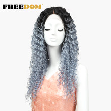 FREEDOM Wigs Deep Wave Lace Front Wigs Synthetic Hair 26 Inch Silver Gray Ombre Color Heat Resistant Cosplay Womens Wigs(China)
