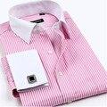 Новые мужские Лоскутные stripes с длинным рукавом рубашки высокого качества Бизнес Французский запонки Смокинг рубашки платья хлопок мужской блузка рубашка