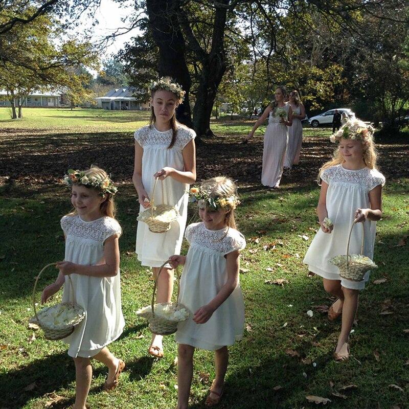 White Flower Girls Dresses For Wedding Sleeveless Mother Daughter Dresses Lace Knee-Length First Communion Dresses for Girls