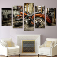5 Piece Canvas Art Motorcycle Race HD Print Wall Pictures For Living Room Canvas Painting Nordic