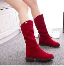 2019 New Women Boots Square Heels Round Toe Mid-Calf Boots Woman Shoes Suede Leather Female Autumn Winter Boots Black Brown Red(China)