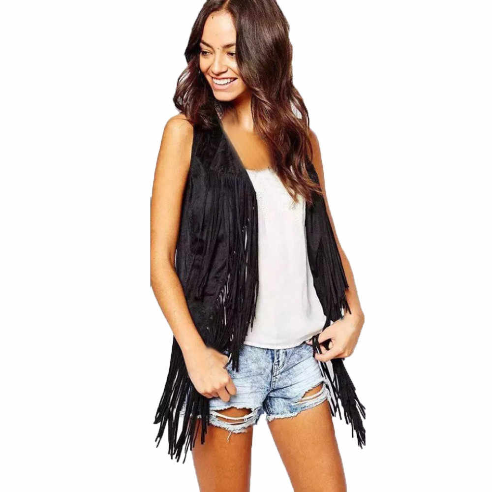 2019 Women Autumn Winter Faux Suede Ethnic Sleeveless Tassels Fringed Vest Cardigan Female deer fur velvet buckle in the vest