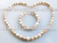 Shitou 00550 9-10mm bianco rosa viola perla d'acqua dolce del braccialetto della collana di strass set