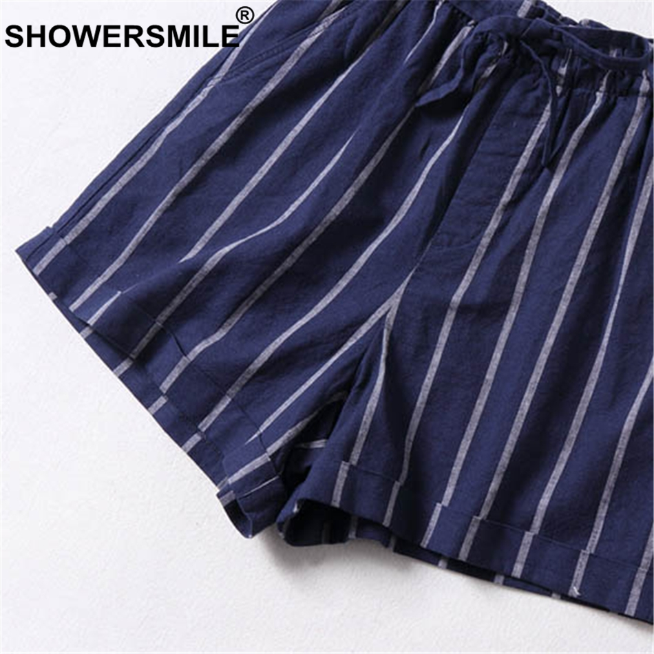SHOWERSMILE Striped Shorts Women Lace Up Navy Blue Short Trousers Casual Elastic Waist Summer Autumn Short Pants With Pockets