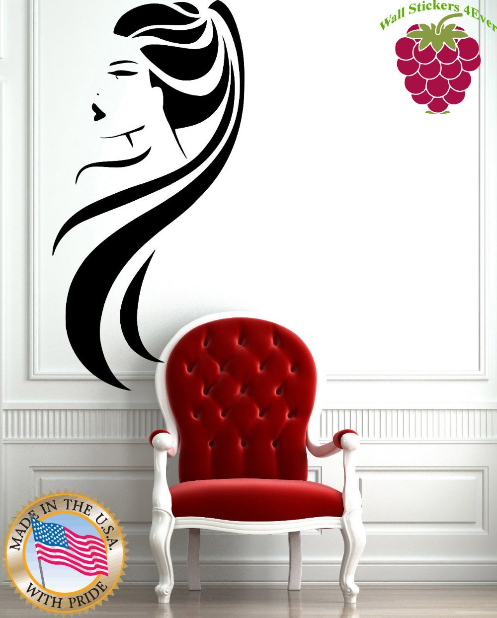 Eyes wall stickers wow modern beauty salon valentine wall decoration - Wall Stickers Vinyl Decal Beauty Salon Long Hair Ponytail Hot Sexy Girl China