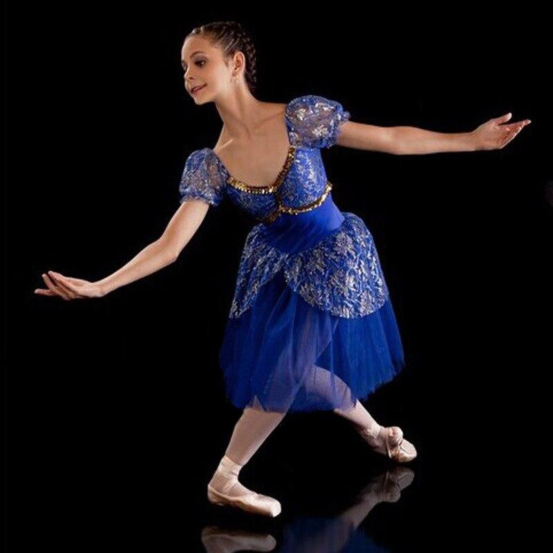 Bleu Royal giselle ballet tutu robe bleu professionnel ballet tutus/ballerine robe enfants romantique ballet tutu robes livraison gratuite