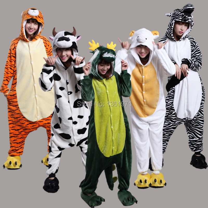 HKSNG China Traditional Rat Ox Tiger Rabbit Dragon Snake Horse Goat Monkey Rooster Dog Pig Adult Footed Pajamas Onesies Costumes