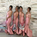 Pink Long Bridesmaid Dresses Hi Low Vestidos De Madrinha Cap Sleeves Bridesmaid Dress Plus Size Appliques Ruffles Vestido Longo