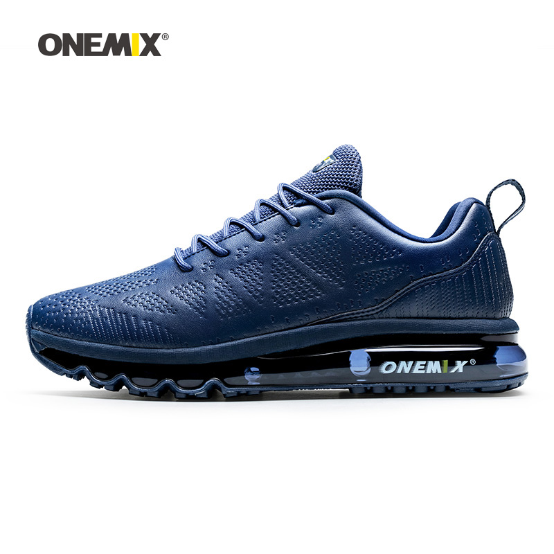 Onemix Men Running Shoes For Women Navy Microfiber Leather Max Gym Yoga Athletic Sneakers Sport Outdoor