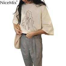 NiceMix Cotton And Linen Short Sleeve Women Shirts 2019 Korean Summer Preppy Style Womens T-shirts Casual Loose Tops new fashion