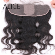 ALICE Brazilian Silk Base Lace Frontal Closure Pre Plucked Body Wave Non Remy 13×4 Middle Part Human Hair Lace Closure 8″-20″