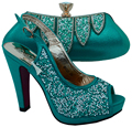 Teal African Shoe and Bag Set for Party In Women Italian Matching Shoe and Bag Set Wedding Shoe and Bag High Heels Elegant Shoes