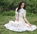 Frete grátis alta qualidade 2016 chegada nova flor impresso manga curta mulher Chiffon vestido longo