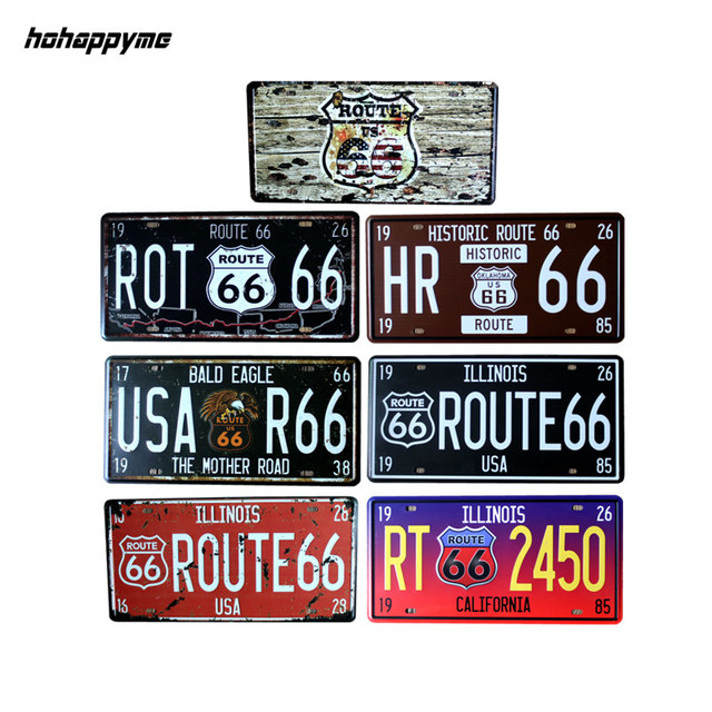 15*30 cm Route 66 Metal Sign Car Number License Plates Garage Signs Vintage Tin  sc 1 st  AliExpress.com & 15*30 cm Route 66 Metal Sign Car Number License Plates Garage Signs ...