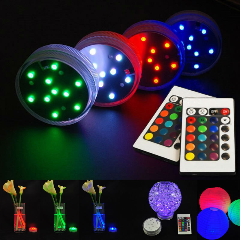 (12 pcs/lot)Submersible Light Battery Operated RGB Color Changing Accent Led Light Remote for Party, Wedding, Holiday Lighting