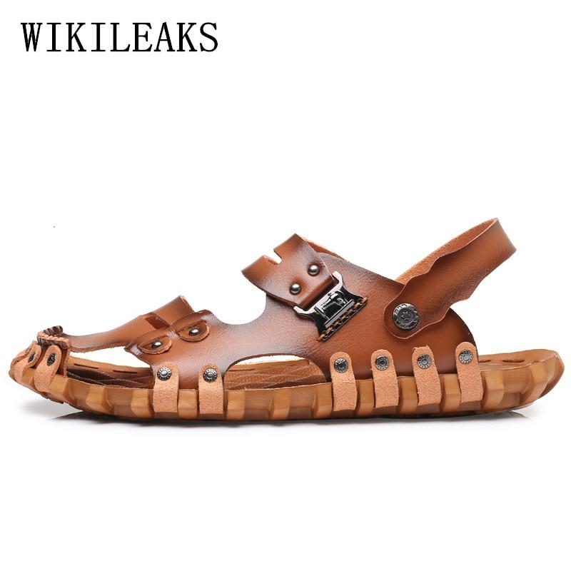 mens sandals summer 2018 genuine leather beach sandals men shoes schuhe herren sandalet zapatos hombre sandalias men sandals man