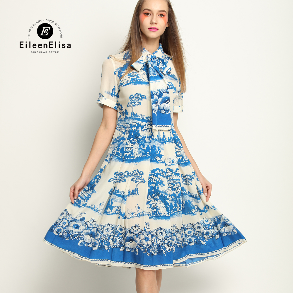 Light Blue Dress Women Famous Brand Women Dress 2017 Print Dress Blue Flower