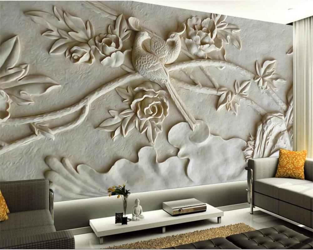 US $8 85 OFF Beibehang Besar Kustom Wallpaper Mural Timbul Burung Foto Wallpaper 3D Rumah Modern Wallpaper Papel De Parede 3D Papel De Parede