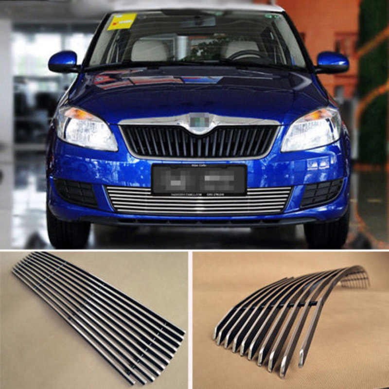 Alloy Aluminium Front Center Racing Mesh Bumper Grills Billet Grille Cover For Skoda Fabia 2012-2014