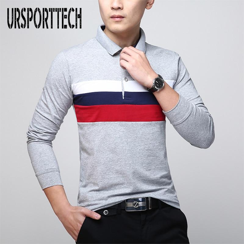 Brand Spring Autumn Polo Shirt Men Long Sleeve Cotton Casual Polos Shirt Striped Solid Color Comfortable Polos Top Quality