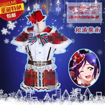 Anime Aqours Love Live Sunshine Matsuura kanan Christmas Lovely  Plaid Dress Cosplay Custume Full Sets A