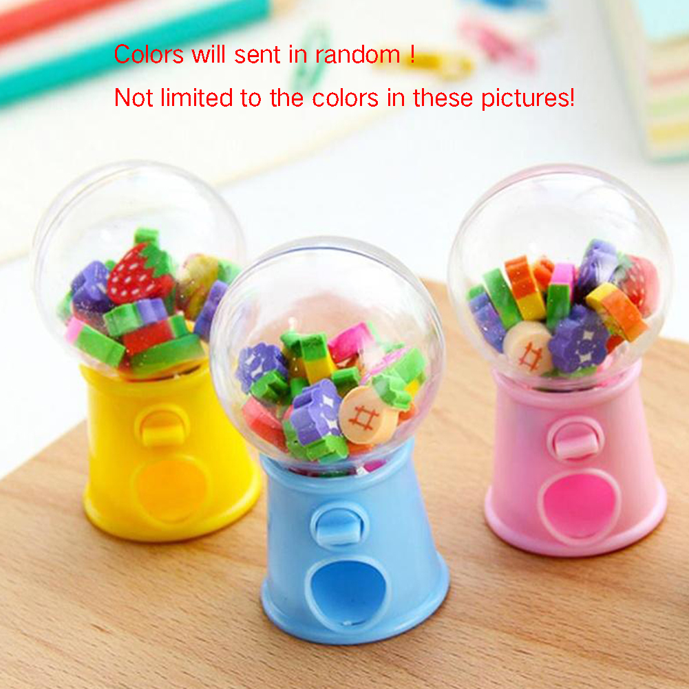 Hot Sell Children Toy Creative Cute Mini Fruit Eraser Toy Candy Machine Bubble Gumball Dispenser Kids  Toy Birthday Gift