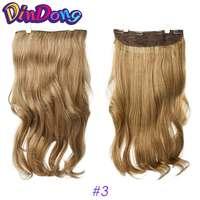 DinDong 24 дюймов Волнистые Клип В Наращивание волос блондинка серебристо серый синтетический Термостойкое волокно 19 цветов доступны с 4 зажимы