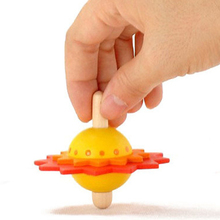 Flower Wooden Spinning Top Kids Traditional Intelligence Development Educational Toys Children Classic Toys Christmas Gift