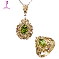 Lohaspie Natural Gemstone Peridot & Rhodolite Garnet 10k Yellow Gold Pendant & Ring Bridal Jewelry Sets For Women's Gift