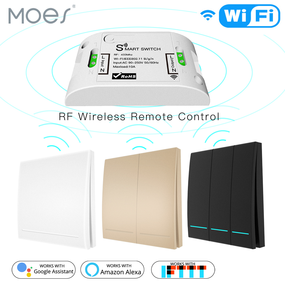 <font><b>RF433Mhz</b></font> Wifi Wireless Remote Control Smart Switch,Wall Panel Transmitter ,Smart Life/Tuya APP ,Works with Alexa Google Home. image