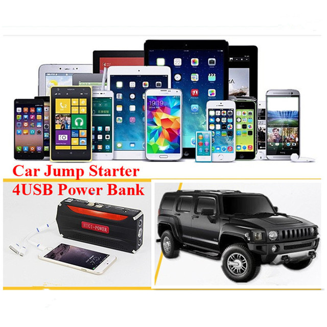 Best 600A Peak Car Battery Charger Multi-Function 12V Car Jump Starter 4USB Phone Laptops Power Bank SOS Light Free Shipping