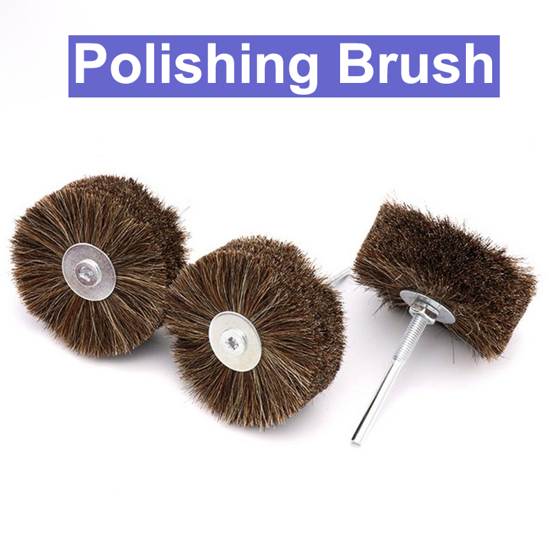 6mm Bristle Grinding Head Polishing Brush Wheel Semifinished Wood Root Carving Buffing Polishing Brush Wheel Dremel Rotary Tools