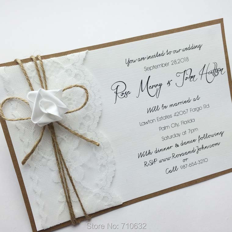 Handmade Vintage Lace Wedding Invitations with lace card,envelope ...