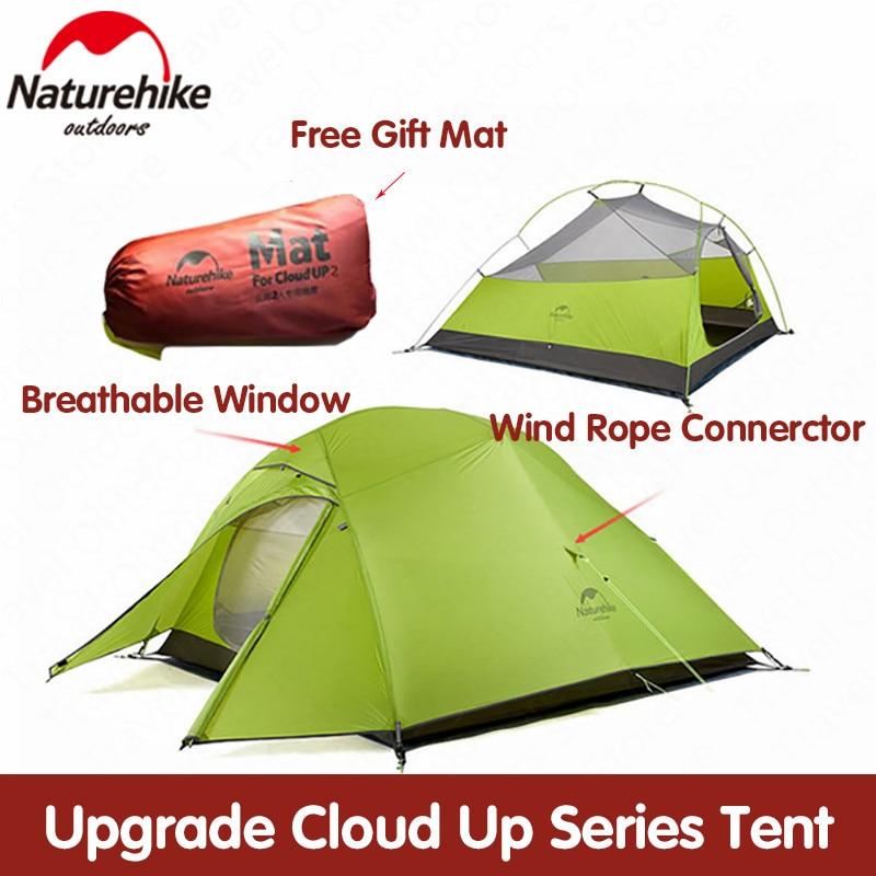 Naturehike tenda Atualização Nuvem Up 1 2 20D 3 Pessoas Barraca de Acampamento Ao Ar Livre Ultraleve Barraca Com O Tapete de Silicone NH17T001-T